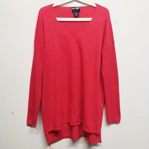 Lord & Taylor Red 100% Cashmere V-Neck Sweater L
